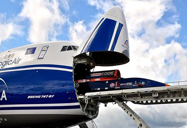 Cargologic aircraft being loaded with Bloodhound SSC car