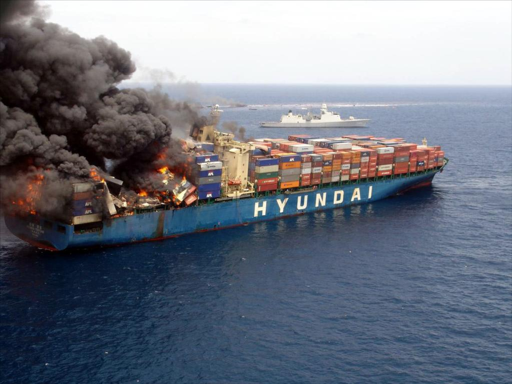 Container ship on fire, General average is declared and cargo insurance is needed